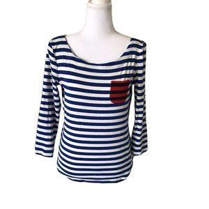 Talbots Navy Blue and White Striped Stretch top S